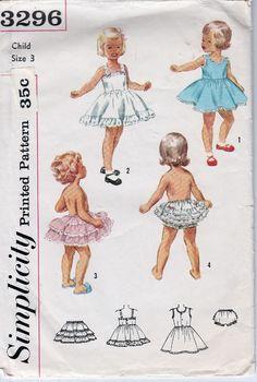 simplicity 3296 toddlers' slip petticoat panties vintage pattern