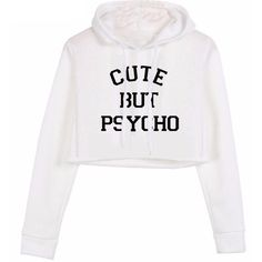 Cute but psycho cropped hoodie ($109) ❤ liked on Polyvore featuring tops, hoodies, crop top, white crop top, sweatshirt hoodies, cropped hoodies and long-sleeve crop tops