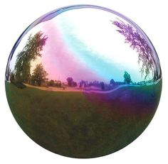 "Mirror Ball 8""Rainbow Stainless Steel Gazing Globe - casa.com"