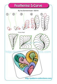 Learn to make a feathering S-Curve by Ina Sonnenmoser. Get your Zentangle on! Doodles Zentangles, Tangle Doodle, Tangle Art, Zentangle Drawings, Zentangle Patterns, Doodle Drawings, Doodle Art, Zen Doodle Patterns, Image Mandala