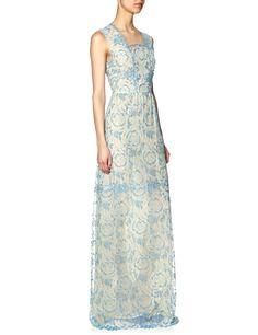 Powder Blue Lace Elena Dress | Vilshenko | Avenue32
