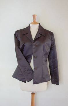 80s Vintage Classic Metallic Dark Grey Jacket from by flyingcloset