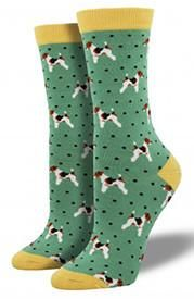 Perfect form for these show dog terriers! Soft, durable bamboo crew socks are 66% bamboo rayon, 32% nylon, 2% spandex. Fits approximate women's shoe sizes 5–10.5.