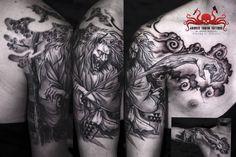 Hannya sleeve tattoo by Mehdi Rasouli broken tooth tattoos Dali Tattoo, Fox Tattoo, Tooth Tattoo, Fresh Tattoo, Lijiang, Professional Tattoo, Japanese Geisha, Tattoo Studio, Sleeve Tattoos