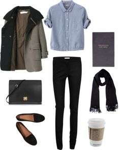 Black skinnies + chambray + flats