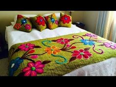 Hand Embroidery New Design bed sheet Collection, Beautiful Double Bed sheet with pillow covers 2019 Hand Embroidery Designs, Embroidery Stitches, Draps Design, Designer Bed Sheets, Floral Bedspread, Double Bed Sheets, Mexican Embroidery, Bed Runner, Bed Covers