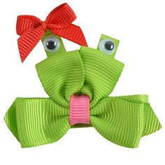 Ribbon Sculpture /  Frog Clips /  Froggy Bow / Summer Hair Bow