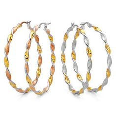50mm TWO TONE TWISTED HOOP EARRING