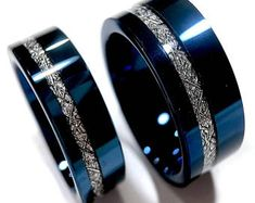 Ringe Wedding bands, Blue Meteorite Inlay Rings, His and Her Engagement Ring, Blue Tungsten Ring, Me Tungsten Mens Rings, Tungsten Wedding Bands, Solitaire Engagement, Meteorite Wedding Band, Engagement Rings For Men, Wedding Engagement, Mens Wedding Bands Blue, Diamond Wedding Bands, Men Rings
