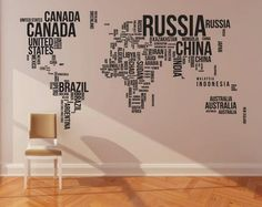 This map shows all the different places of the world in words! This way he students can learn what and where they are.