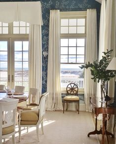 Crisp linen curtains against cobalt blue walls embrace this mornings FIRST VIEW of beach dunes and the majestic Atlantic in Southampton. Woven Shades, Dining Room Design, Dining Rooms, Linen Curtains, White Rooms, Bedroom Themes, Blue Walls, Coastal Decor, Farmhouse Decor