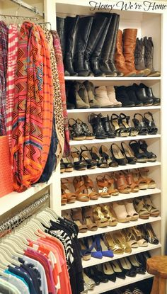 Honey We're Home closet...borderline insanity but i like the shoe shelves