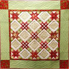 """Midnight Star quilt from Mary Hickey's """"Comfort and Joy - 14 Quilts for Christmas."""" Love the quilting! Longarm Quilting, Machine Quilting, Quilting Projects, Quilting Designs, Quilting Ideas, Star Quilts, Mini Quilts, Pinwheel Quilt, Winter Quilts"""