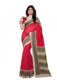 Shonaya Red & Beige Color Silk Printed Saree With Unstitched Blouse Piece
