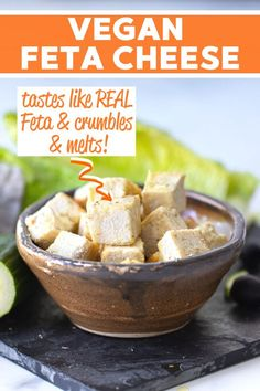 Vegan Feta Cheese That Tastes Crumbles Like Real Feta A Virtual Vegan Recipe In 2020 Vegan Feta Cheese Vegan Cheese Recipes Vegan Snacks