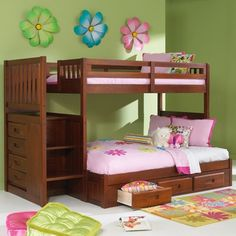 Discovery World Merlot Twin Over Full Bunk Bed With Stairs - This, in white, is my fantasy bunk bed for the girls...