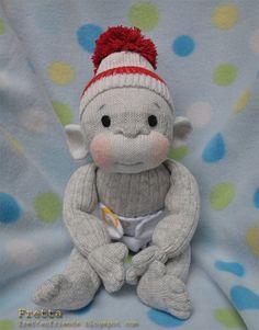 Fretta's Sock Monkey. Hand stitched 12 / by FrettasLovableDolls, $44.00