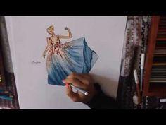 fashion illustration soft green dress with flower bodice - YouTube