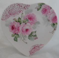 Hand Painted Pink Roses Scrolling 8 in China Heart Plate Shabby Signed SHIP Disc | eBay  ♥K8♥
