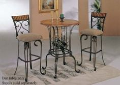 Amazon.com - Bar Table with Wine Rack Bronze & Oak Finish - Table & Chair Sets