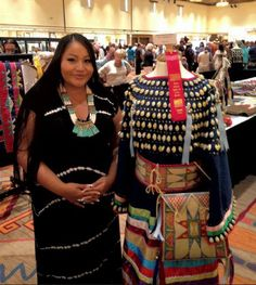 """Lauren Good Day Giago Art Yesterday evening at the 2013 SWAIA Indian Market Preview of Award Winning Art with my Second Place in Textiles - Traditional Clothing for my Ft.Berthold Style (Arikara, Hidatsa, Mandan) ribbon dress. """"In the Image of My Grandmothers""""."""