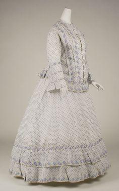 Circa 1860 cotton morning dress