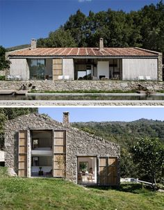Designed by Architecture Abaton On the outside, every attempt was made to preserve the character of this quaint old structure. Designed by Architecture Abaton On the outside, every attempt was made to preserve the character of this quaint old structure. Architecture Renovation, Residential Architecture, Modern Architecture, Architecture Courtyard, Stone Barns, Stone Houses, Modern Barn, Building A House, New Homes