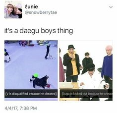 Its not a BTS game if Daegu boys aren't cheating