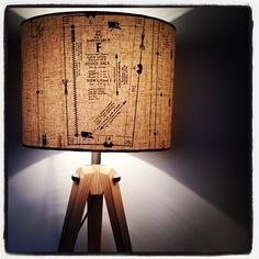 Photo by patturnstudio, vintage sewing patterns decoupaged on a lampshade.