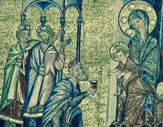 Mosaïques Baptistère Firenze. L'histoire du Christ.  4. L'adoration des mages. Noter que Jésus tend sa main vers le premier.. Il est plus âgé que dans les représentations classiques