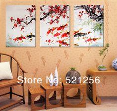 3 unidades envío gratis pared moderna de la pintura flor de cerezo Koi Fish decorativa casera de bellas artes en la lona impresiones A648 en Pintura y Caligrafía de Casa y Jardín en AliExpress.com | Alibaba Group