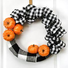 Buffalo Check Pumpkin Wreath