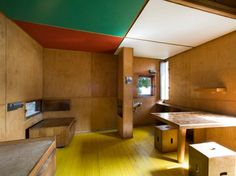 After Le Corbusier failed in his attempt to buy E-1027, he settled for a nearby plot of land on Roquebrune-Cap-Martin. Here, he built his own summer hideaway, a tiny wooden cabanon measuring just 144 square feet. The interior is a perfect demonstration (in miniature) of Le Corbusier's principles of economical living, complete with built-in furniture and a fantastically colorful paint scheme. The cottage was the only building that Le Corbusier designed for his own use.