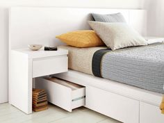 The bedroom is the most important resting place. But, what if you have a narrow bedroom design? Thinking about the area for storage, maximizing the function of the room to find design inspiration t… Small Bedroom Storage, Bed Frame With Storage, Under Bed Storage, Storage Spaces, Modular Storage, Narrow Bedroom Ideas, Small Bedrooms, Master Bedrooms, Storage Design