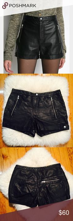 "🎱 CHEAP MONDAY 🎱 LEATHER High Waist Shorts Moto Beautiful Moto zip shorts, high waist CONDITION: no issues EUC CHEST: WAIST: 32"" LENGTH: front 12"" back 13.5"" INSEAM: 3"" *All measurements taken while item is laid flat (doubled when necessary) and measured across the front  MATERIAL: leather - lined  STRETCH: some Cheap Monday Shorts"