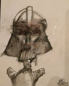 """""""VaderDog"""" abstract A5 Mixed Media abstract drawing on card by Crooknose Signed in Art, Artists (Self-Representing), Drawings 