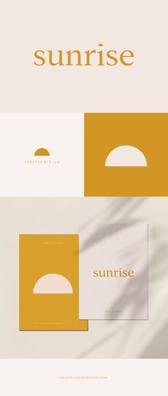A clean and clever brand design for a boutique art studio. The post Sunrise Brand Design appeared first on Design. Corporate Design, Brand Identity Design, Graphic Design Branding, Brand Design, Typography Design, Web Design, Design Packaging, Corporate Branding, Label Design