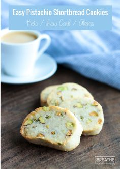 Low Carb Recipes Easy Keto Pistachio Shortbread Cookies - coffee's new BFF! - Rich and buttery keto shortbread cookies, studded with sweet and toasty pistachios - coffee's new BFF! Keto, Atkins, low carb, and gluten free too! Keto Cookies, Shortbread Cookies, Cookies Et Biscuits, Cookies Snickerdoodle, Pistachio Cookies, Meringue Cookies, Low Carb Sweets, Low Carb Desserts, Low Carb Recipes