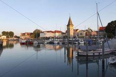 Harbour with Mangturn or Mangenturm tower Lindau on Lake Constance Swabia Bavaria Germany Europe PublicGround