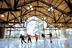 Ice skating in the Mohonk Mountain House open-air Pavilion.