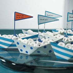 These mini metal sailboats are perfect nautical wedding favors, baby shower favors or table decorations for a beach themed event. Fill with 'life savers' for a themed party favor that floats everyone's boat. Nautical Wedding Favors, Summer Wedding Favors, Boat Wedding, Nautical Party, Summer Weddings, Wedding Favours, Nautical Baby Shower Cakes, Wedding Ideas, Nautical Food