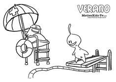 Dibujos colorear verano, en la piscina. Glumpers - Actividades infantiles  -- Summer, Glumpers character cartoon coloring pages