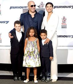 Vin Diesel & Paloma Jimenez with Daughter Hania Riley Sinclair & Son Vincent Sinclair and a family member