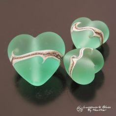 Handmade Lampwork Beads Silvered Sea Glass Pale Emerald Green Heart Set SRA | eBay