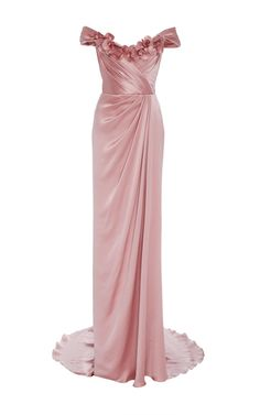 Off the Shoulder Satin Gown by Marchesa | Moda Operandi