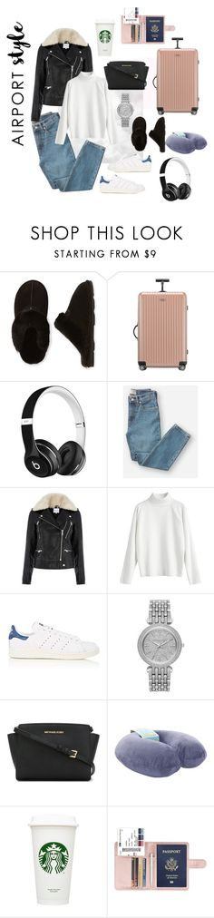 """""""Baecation"""" by veronicaadu ❤ liked on Polyvore featuring Bearpaw, Rimowa, Beats by Dr. Dre, Everlane, Warehouse, adidas, Michael Kors, MICHAEL Michael Kors and airportstyle"""