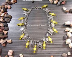 Yellow Jade & Crystal Butterfly Anklet  by StarshineBeads on Etsy