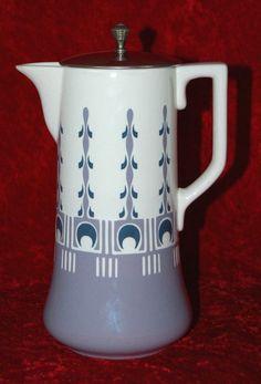 Villeroy & Boch V+B Dresden Jugendstil Kakaokanne um 1910 - Keramik Kanne Deckel