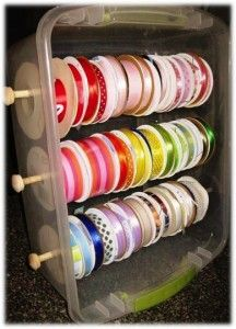 Easy ribbon storage! -- Wanna try making this with a wooden shelf instead of a plastic tub.  Can store wrapping paper and rolls of fabric on here too...