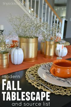 My Fall Tablescape- inexpensive, simple, and with a few DIYs  #fall #tablescape #thanksgiving